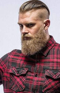 Manly Beard – Undercut with a long slick back and thick beard Manly Bart – Undercut mit langem Slick Back und dickem Bart - Unique Long Hairstyles Ideas Best Undercut Hairstyles, Mens Hairstyles With Beard, Haircuts For Men, Viking Hairstyles, Men Undercut, Hairstyle Men, Hairstyles 2018, Slick Back Undercut, Undercut With Beard