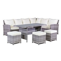 MMT Rattan Garden Furniture L-Shaped Dining Corner set - 8 seater - Long left hand sided x 6 piece set - 2 Man Home delivery - Bookable - please ensure telephone number is up to date!