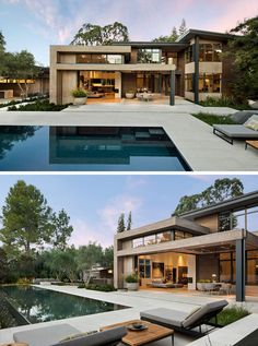 This modern house has outdoor areas that are ideal for entertaining. Just off the living room is a small covered dining area that opens up to the patio, backyard and swimming pool. #ModernArchitecture #SwimmingPool #Landscaping