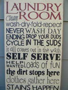 Laundry Room typography word art sign by AmericanAtHeart on Etsy, $39.00