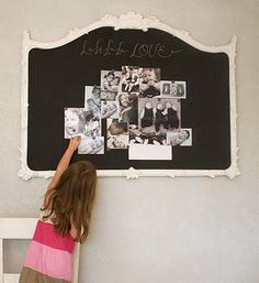 An old salvage dresser mirror with chalkboard paint...cute!