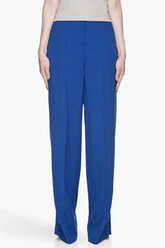 MAISON MARTIN MARGIELA Royal blue silk-trimmed column trousers