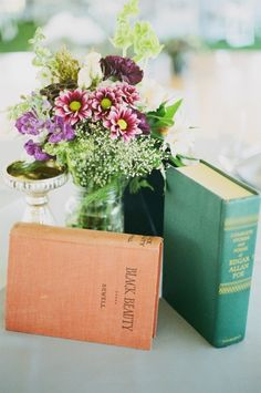 to have vintage books for decor at my wedding.