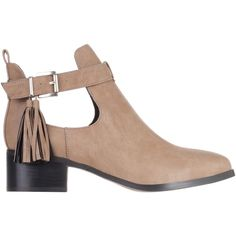 SPURR Bella Cut-Out Tassel Ankle Boots (500 ZAR) ❤ liked on Polyvore featuring shoes, boots, ankle booties, botas, taupe, women, cut out bootie, taupe boots, taupe ankle boots and cutout booties