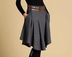grey skirt, skater skirt, mini skirt, winter skirt, wool skirt, pleated skirt, skirt with pocket,custom skirt, short skirt,womens skirts 359