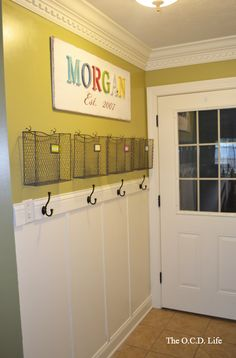 for the mudroom wall opposite of shelving Creating a Family Command Center - love this idea .all those school papers have a home! Organization, Home Organization, Room, House, Home Projects, Interior, Family Room, Home, Family Command Center