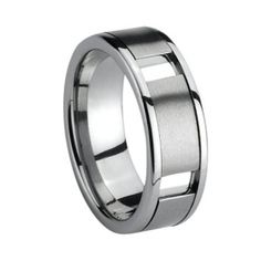 Tungsten Dating Ring with one groove &brushed center