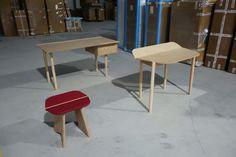 O CÉU - Prototypes of our desks CHEFÉ and PICO + the CANTINA stool.
