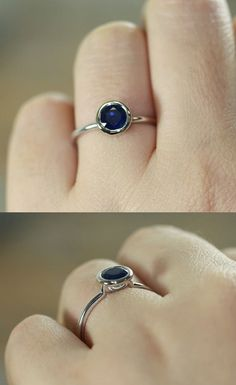 Bezel Set Natural Blue #Sapphire Engagement #Ring by LaMoreDesign