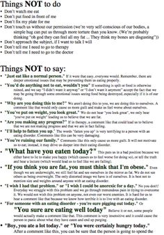Things Not To Say And Things Not To Do: Ideas For Parents Or Those Dealing With A Loved One Suffering From An Eating Disorder.
