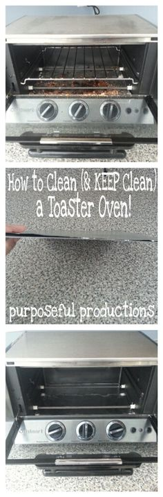Purposeful Productions: How to Clean (and KEEP Clean) a Toaster Oven… Cleaning made easy! Simple steps to make cleaning easier. Oven Cleaning, Toilet Cleaning, House Cleaning Tips, Spring Cleaning, Cleaning Hacks, Toaster Oven Cooking, Toaster Oven Recipes, Toaster Ovens, Clean Baking Pans