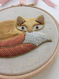 Gorgeous Gold Work Fox from the Royal School of Needlework Ribbon Embroidery, Cross Stitch Embroidery, Embroidery Patterns, Cross Stitching, Crewel Embroidery, Diy Broderie, Gold Work, Textile Art, Needlework