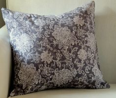 Gray and white damask pattern pillow cover.  Visit: https://www.etsy.com/listing/475733092/gray-and-white-damask-patterned-18x-18?ref=listing-shop-header-3