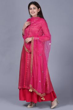 anokherang Combos XS Pink Brocade Double Layered Jacket Style Kurti Set with Mirror Stone Dupatta Jacket Style Kurti, Silk Kurti, Pink Mirror, Beautiful Suit, Yellow Pants, Cotton Suit, Western Outfits, Indian Wear, Swagg
