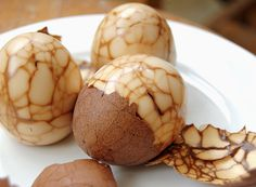 Tea Eggs! Looks gross, tastes great. I ate way too many of them when I was backpacking through Taiwan. They looked even worse there, floating in big vats of what looked like mud. But I always try to do as the locals do, and didn't regret it. Update: Great add for Keto-diet!!