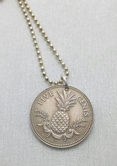Coin Necklace - Vintage Bahamas PINEAPPLE necklace - Carmen Miranda - fruit necklace - island fruit - coin jewelry