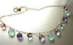 Chalcedony Necklace, Amethyst necklace, quartz necklace, In the Garden Necklace, rainbow necklace, boho necklace on Etsy, $158.00