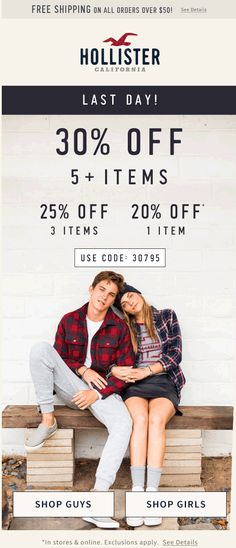 Pinned August 31st: 20-30% off today at Hollister or online via promo code 30795 #coupon via The #Coupons App