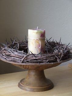 Lenten wreath with a grapevine and toothpicks. Pull out a toothpick for each kind act (almsgiving) during Lent.