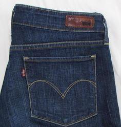 Levi's Demi Curve Skinny Boot Cut Jeans Mid Rise Dark Wash Stretch sz 30 X 31 #Levis #SkinnyBootCut