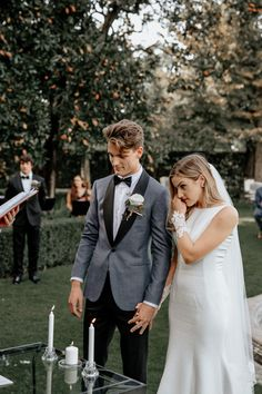Wedding Photography The bride gets emotional as the couple exchanges vows at this romantic botanical ceremony Wedding Ceremony Ideas, Wedding Ceremonies, Wedding Decor, Wedding Couple Pictures, Wedding Pics, Wedding Couples, Wedding Flowers, Wedding Groom, Wedding Attire