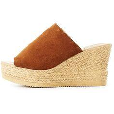Bamboo Espadrille Slide Sandals ($25) ❤ liked on Polyvore featuring shoes, sandals, brown, wedge slide sandals, summer wedge sandals, wedge sandals, wedge heel sandals and brown platform sandals