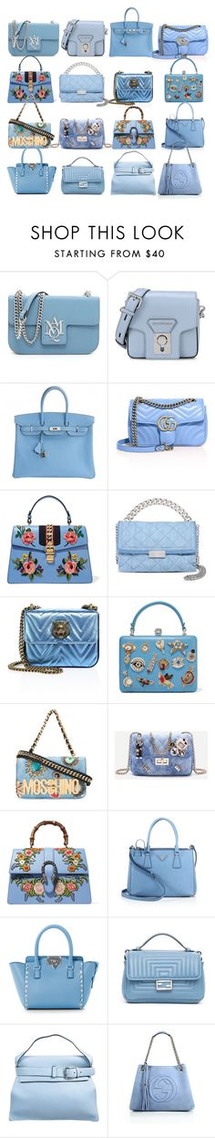 """Baby-Blue Handbags"" by sofi6277 on Polyvore featuring moda, Karl Lagerfeld, Hermès, Gucci, STELLA McCARTNEY, Alexander McQueen, Moschino, Prada, Valentino y Fendi"