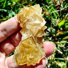Yellow Fluorite specemin from Spain,  41.60 grams 61.55 x 30.9 x 22.6 mm.  #fluorite #crystal #love