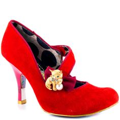 Purple Rains - Red - http://gd.is/yUYbHS -  Get purrfect style in this adorable pump by Irregular Choice.  The Purple Rains style delivers a soft red suede upper with a cross over strap and 3 1/2 inch heel.  A lovable gold kitten brooch and pearl is placed on a feminine ribbon for the perfect touch. Buy Purple Rains  Red