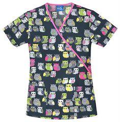 Love this top :) Scrubs - Cherokee Scrub H.Q. 100% Cotton Owl Be There Contrast Mock Wrap Scrub Top