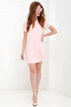 Shift and Shout Blush Pink Shift Dress at Lulus.com!