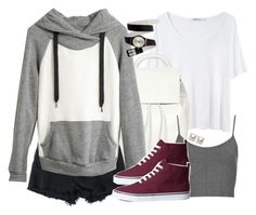 """Stiles Inspired Outfit with Black Shorts"" by veterization ❤ liked on Polyvore featuring T By Alexander Wang, Topshop, Madewell, H&M and Emilie Morris"