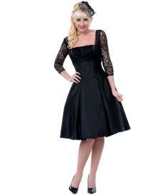 Black Lace Romancing The Night Away Cocktail Dress - Unique Vintage