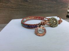 Rainbow Smile Leather Wrap Chakra Japanese Powerstone Bracelet by OffOnAWhimJewelry