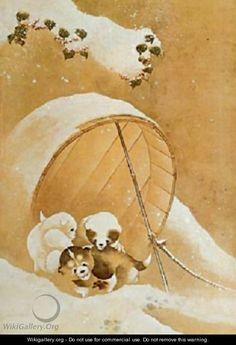 Puppies in the Snow - Katsushika Hokusai
