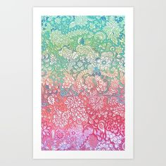 Soft Pastel Rainbow Doodle Art Print by Micklyn. Worldwide shipping available at…