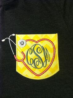 Custom Nurse Short Sleeve Chevron Sparkly monogrammed Pocket tee with heart and stethoscope with Monogram on Etsy, $25.00