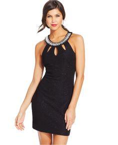 99c754cc1b9ba Teeze Me Juniors  Textured Cutout Sheath Dress Juniors - Dresses - Macy s