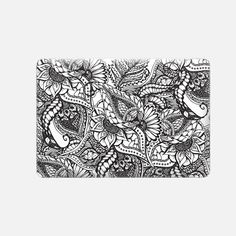 Modern black and white hand drawn floral lace pattern by Girly Trend - Macbook Snap Case