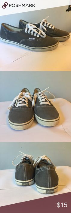 Grey Vans A pair of Vans authentic shoes in grey. They have been worn a few times, leaving some residue on the white rubber. *All prices are negotiable.  *Feel free to ask any questions you may have.  *I do bundle discounts.  *Im not interested in trading. Vans Shoes Sneakers