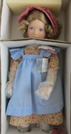 "LITTLE HOUSE on The PRAIRIE Porcelain ""MARY"" INGALLS DOLL 18"" by Artist Joan Ibarolle w SHIPPER (1992 ASHTON DRAKE) by Ashton Drake, Artist Joan Ibarolle. $319.99. DOLL is NEVER REMOVED from Box; *Original Box has some scuffs/rubs at some edges, & Shipper has shelf wear, a few small dents, & damage where label removed.. For Box Condition see CONDITION NOTE or Email Seller for Details.. Little House on the Prairie Mary Doll is a 1992 Ashton Drake production, by Artist Joan..."