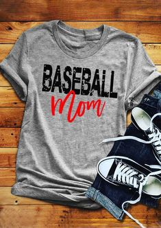 Baseball Mom O-Neck T-Shirt Tee - Gray - Fairyseason Home T Shirts, Tee Shirts, Vinyl Shirts, Diy Shirt, Mama T Shirt, Arrow T Shirt, Sports Mom, Mom Humor, Have Time