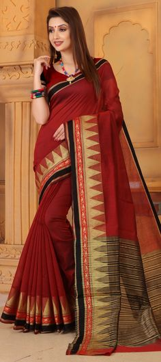 Traditional Red and Maroon color Saree in Cotton fabric with Thread work Traditional Sarees, Thread Work, Maroon Color, Blouse Online, Festival Wear, Cotton Saree, Cotton Fabric, Sari, Red