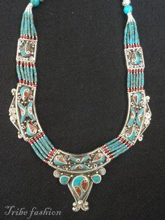 Tribal bellydance Tibetan necklace Tibetan jewelry by TribeFashion, $49.00