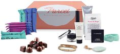 """Le Parcel is a fully customizable """"time of month"""" subscription box that delivers any combination of tampons, pads, and panty liners to your door every month, based on your schedule. In addition to 25 feminine products from top name brands, your monthly Le Parcel box also includes premium chocolates and a hand-selected gift."""