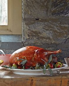 Roasted Heritage Turkey | Martha Stewart Living - A layer of butter under the skin results in a crisp exterior and moist breast meat.