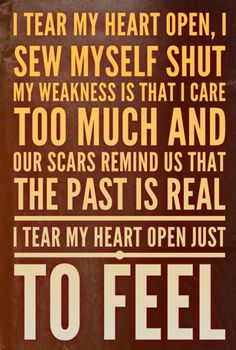 """I tear my heart open / I sew myself shut / my weakness is / that I care too much / and our scars remind us / that the past is real / I tear my heart open / just to feel — Papa Roach """"Scars"""" lyrics (by Lyric Art) 