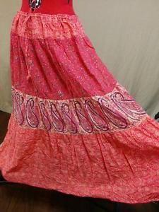 """""""Hippie Peasant Skirt Mixed Print Orange & Pink Venezia Size 18/20 100% Cotton """""""