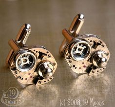 -=: NAVIGATOR Steering through Space & Time =-    Navigate the astral plane with these unique cufflinks by 19 Moons! This exclusive design recollects the controls of an ancient alien ship. The 1940's rubied swiss watch movements have gears removed and  observe