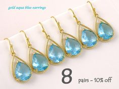Set Of 8 10% Off Will You Be My Bridesmaid Gift, Aqua Earrings, Bridal Shower Gift for Bridesmaids, Wedding Jewelry Set, Beach Wedding Idea